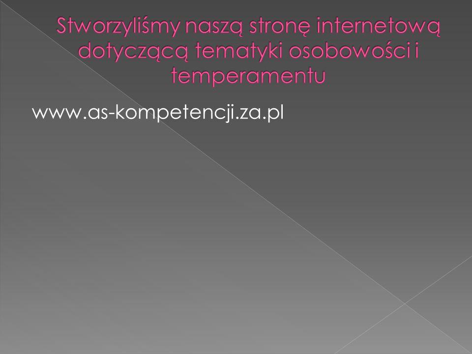 Stworzyliśmy naszą stronę internetową dotyczącą tematyki osobowości i temperamentu