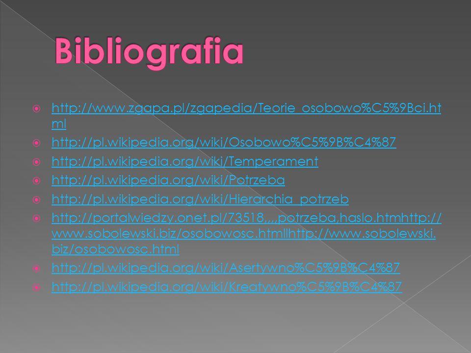 Bibliografia http://www.zgapa.pl/zgapedia/Teorie_osobowo%C5%9Bci.html