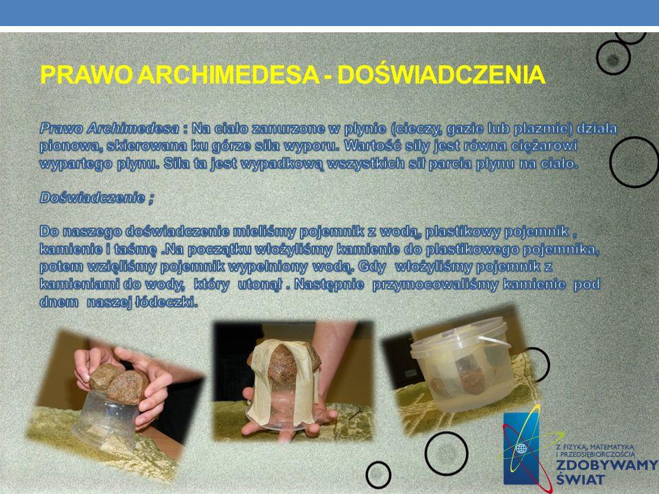 Prawo Archimedesa - doświadczenia