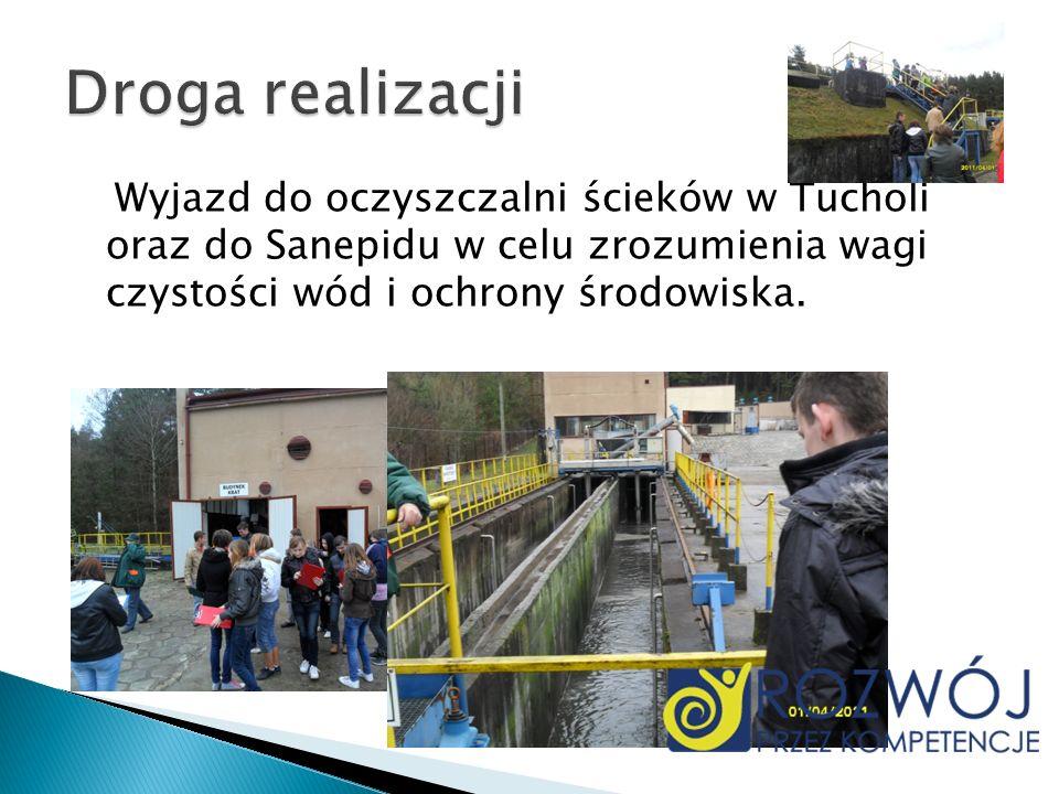 Droga realizacjiWyjazd do oczyszczalni ścieków w Tucholi oraz do Sanepidu w celu zrozumienia wagi czystości wód i ochrony środowiska.