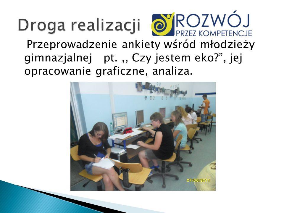 Droga realizacji Przeprowadzenie ankiety wśród młodzieży gimnazjalnej pt.