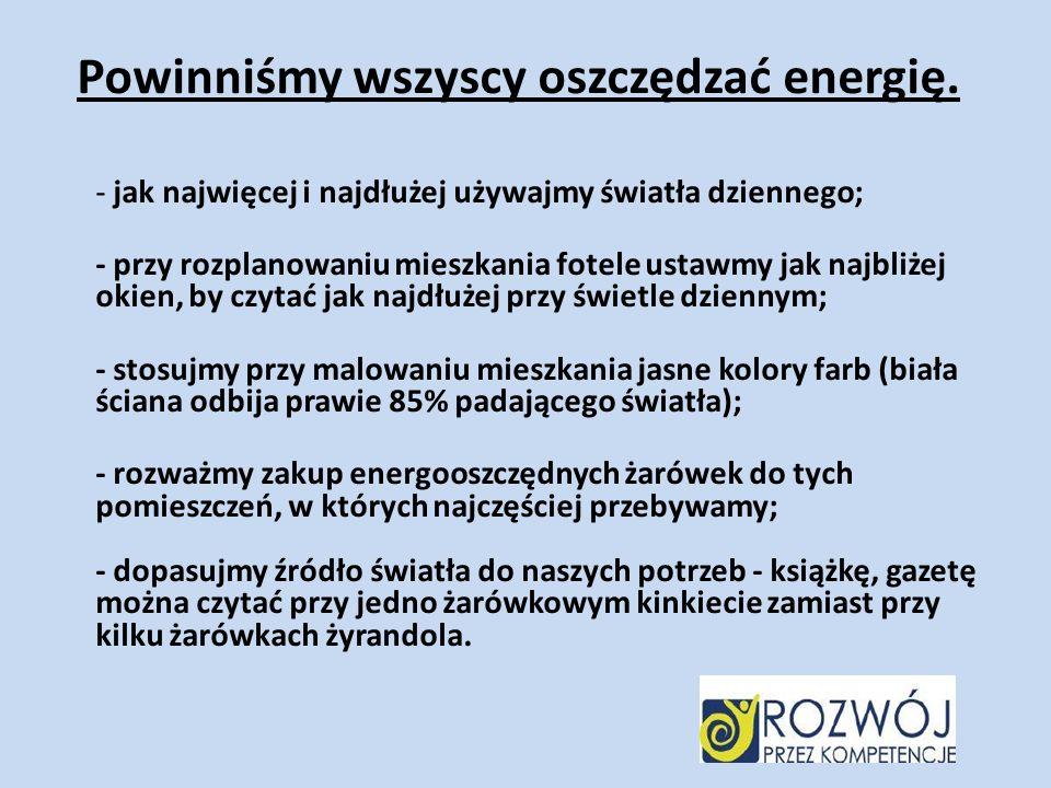 Powinniśmy wszyscy oszczędzać energię.