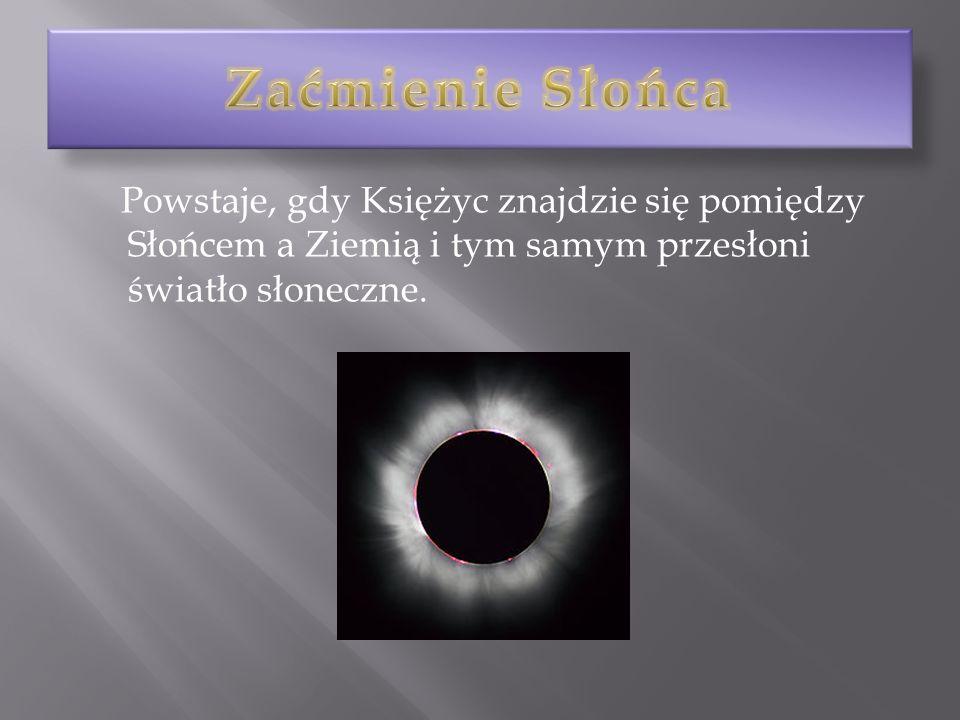 Zaćmienie Słońca Powstaje, gdy Księżyc znajdzie się pomiędzy Słońcem a Ziemią i tym samym przesłoni światło słoneczne.