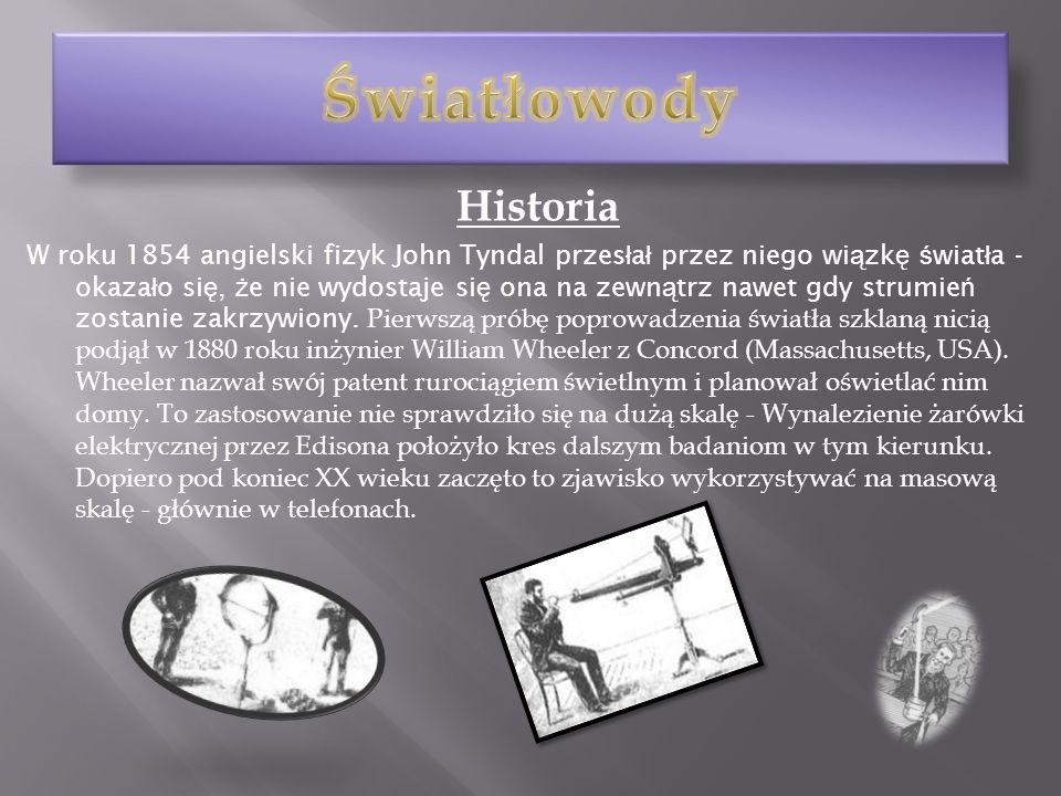 Światłowody Historia.