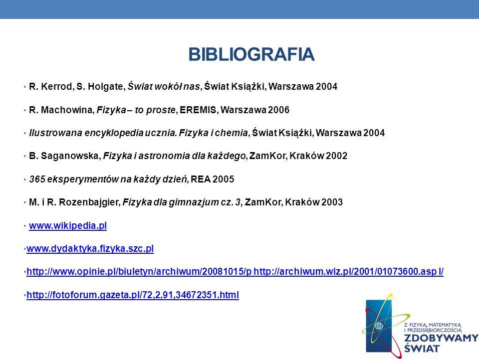 BIBLIOGRAFIA R. Kerrod, S. Holgate, Świat wokół nas, Świat Książki, Warszawa 2004. R. Machowina, Fizyka – to proste, EREMIS, Warszawa 2006.