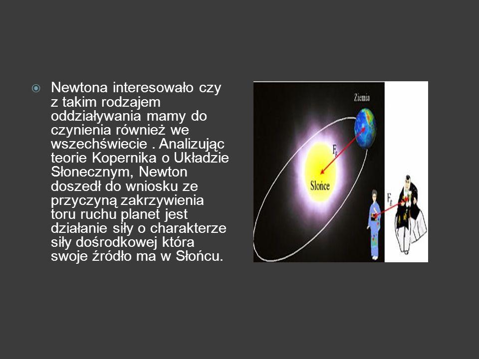 Newtona interesowało czy z takim rodzajem oddziaływania mamy do czynienia również we wszechświecie .