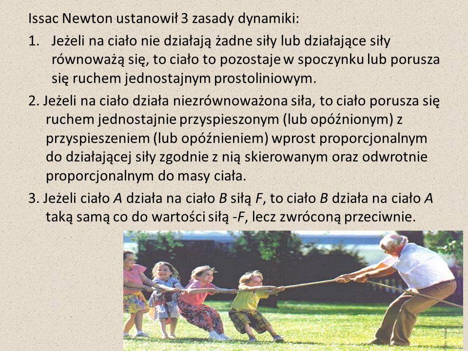 Issac Newton ustanowił 3 zasady dynamiki: