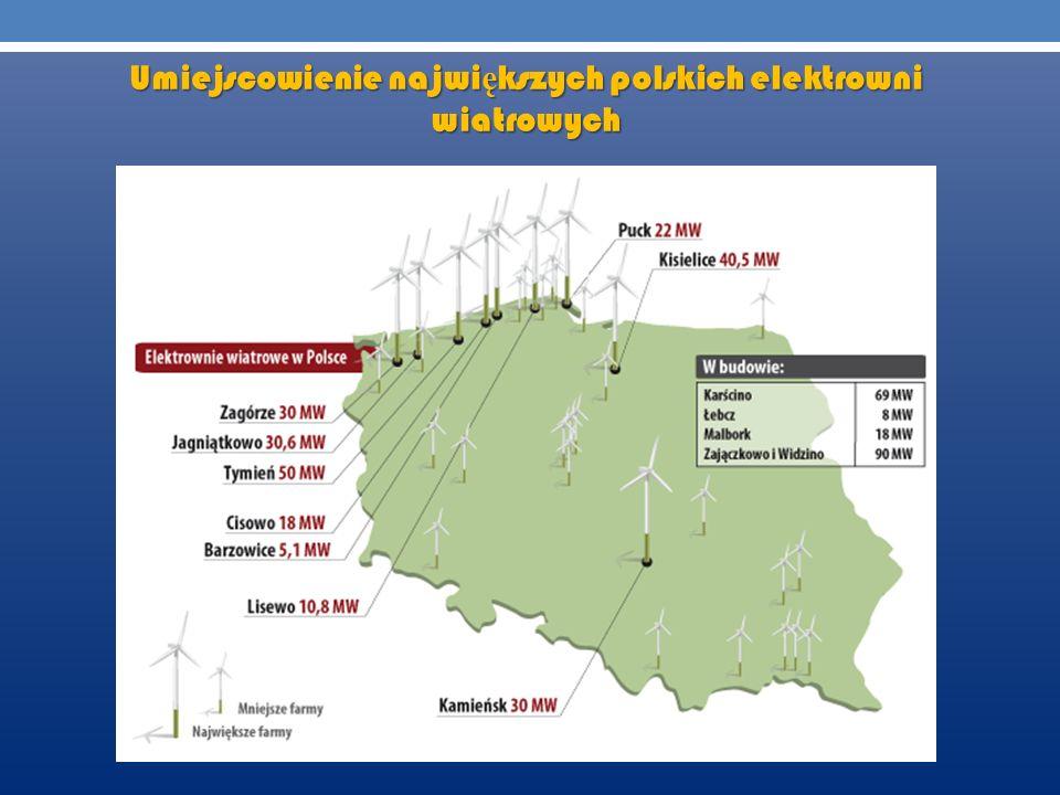 Umiejscowienie największych polskich elektrowni wiatrowych