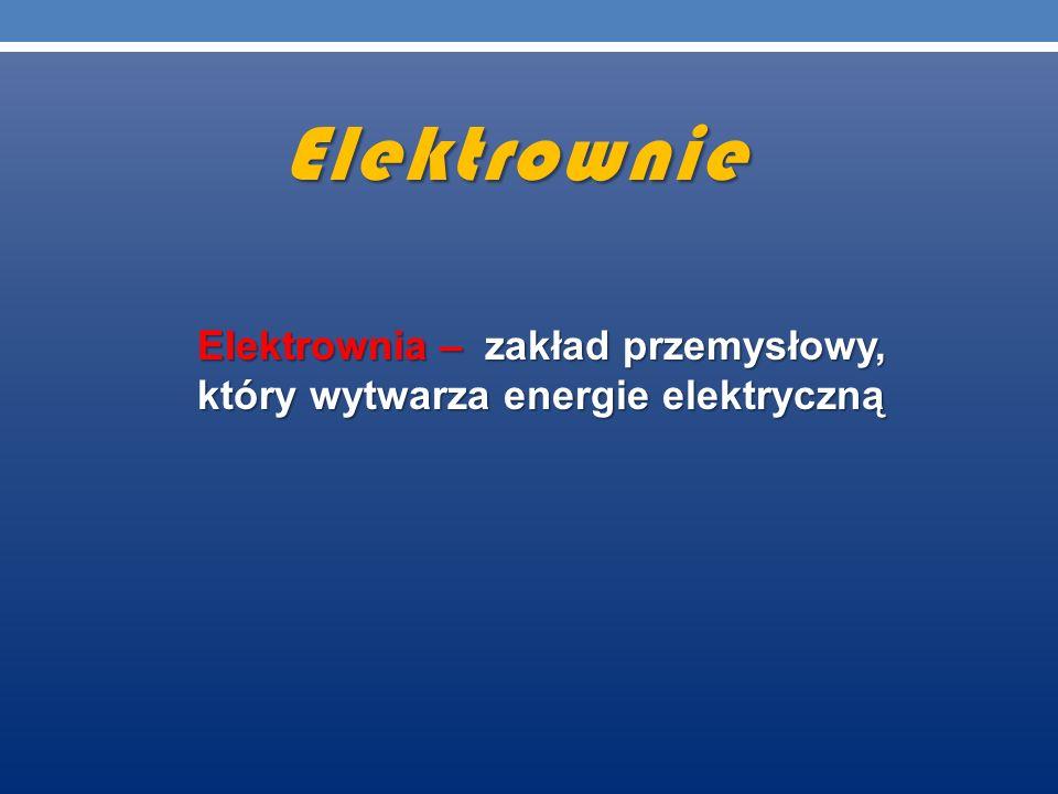 Elektrownia – zakład przemysłowy, który wytwarza energie elektryczną