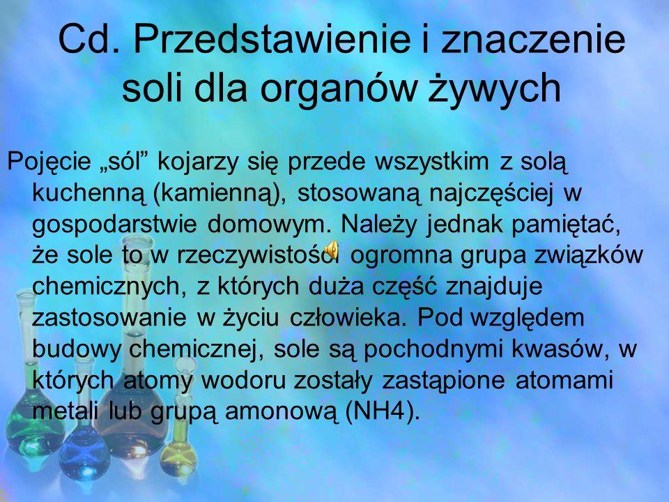 Cd. Przedstawienie i znaczenie soli dla organów żywych