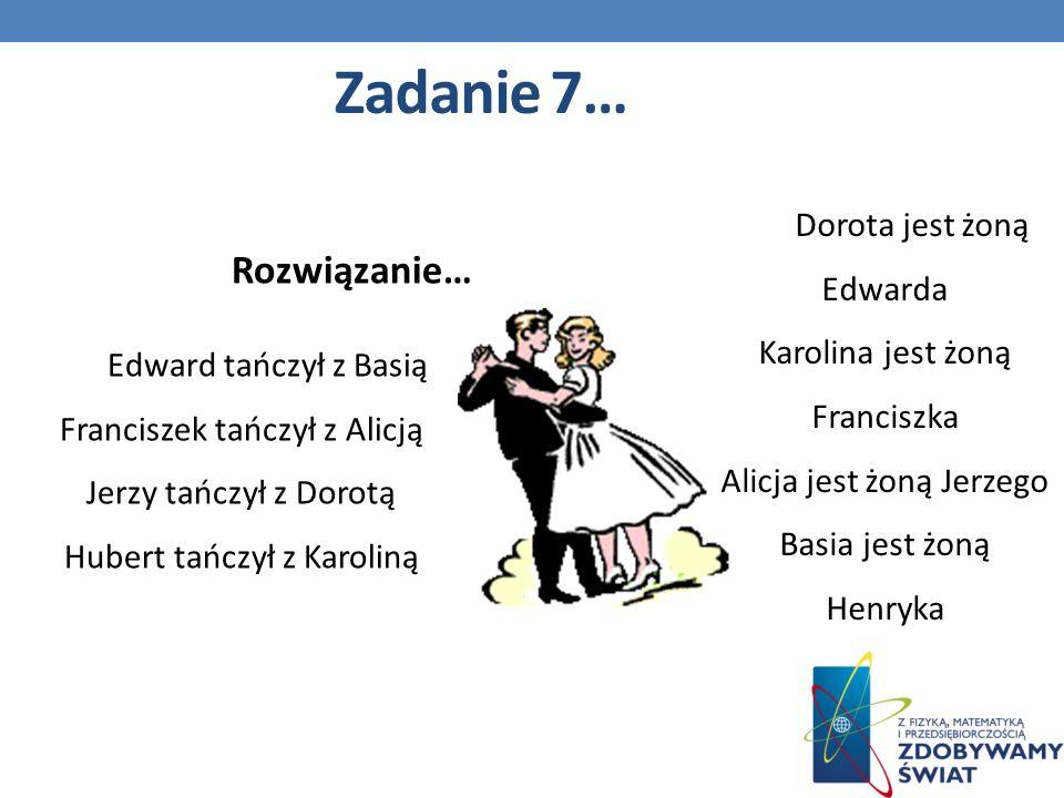 Zadanie 7… Rozwiązanie… Edward tańczył z Basią Franciszek tańczył z Alicją Jerzy tańczył z Dorotą Hubert tańczył z Karoliną