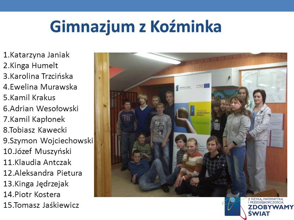 Gimnazjum z Koźminka 1.Katarzyna Janiak 2.Kinga Humelt