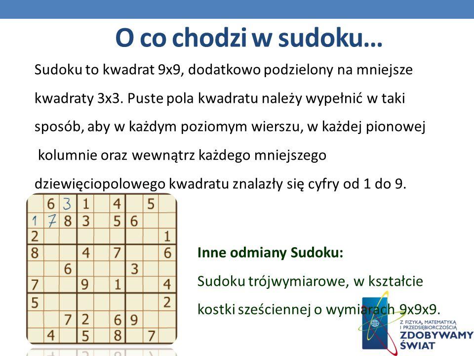 O co chodzi w sudoku… Sudoku to kwadrat 9x9, dodatkowo podzielony na mniejsze. kwadraty 3x3. Puste pola kwadratu należy wypełnić w taki.