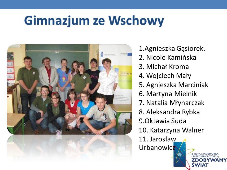 Gimnazjum ze Wschowy 1.Agnieszka Gąsiorek.