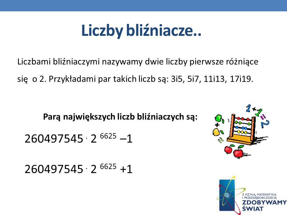 Liczby bliźniacze.. Liczbami bliźniaczymi nazywamy dwie liczby pierwsze różniące się o 2. Przykładami par takich liczb są: 3i5, 5i7, 11i13, 17i19.