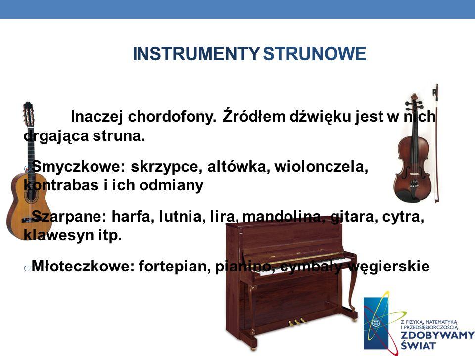 Instrumenty strunowe Inaczej chordofony. Źródłem dźwięku jest w nich drgająca struna.