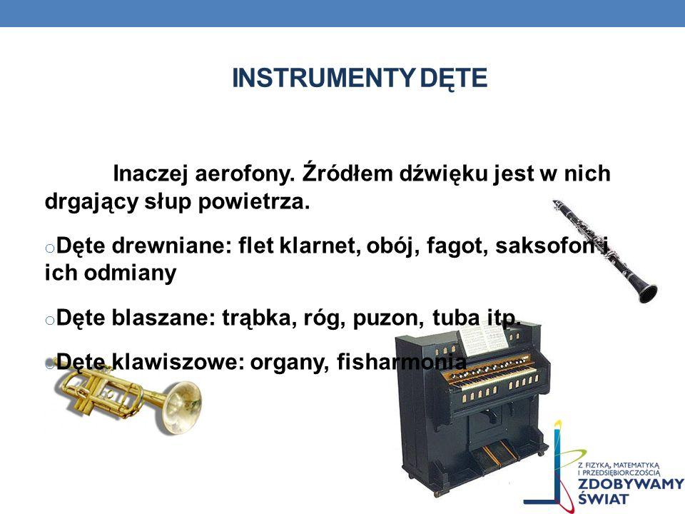 Instrumenty dęte Inaczej aerofony. Źródłem dźwięku jest w nich drgający słup powietrza.