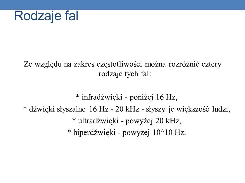 Rodzaje fal Ze względu na zakres częstotliwości można rozróżnić cztery rodzaje tych fal: * infradźwięki - poniżej 16 Hz,