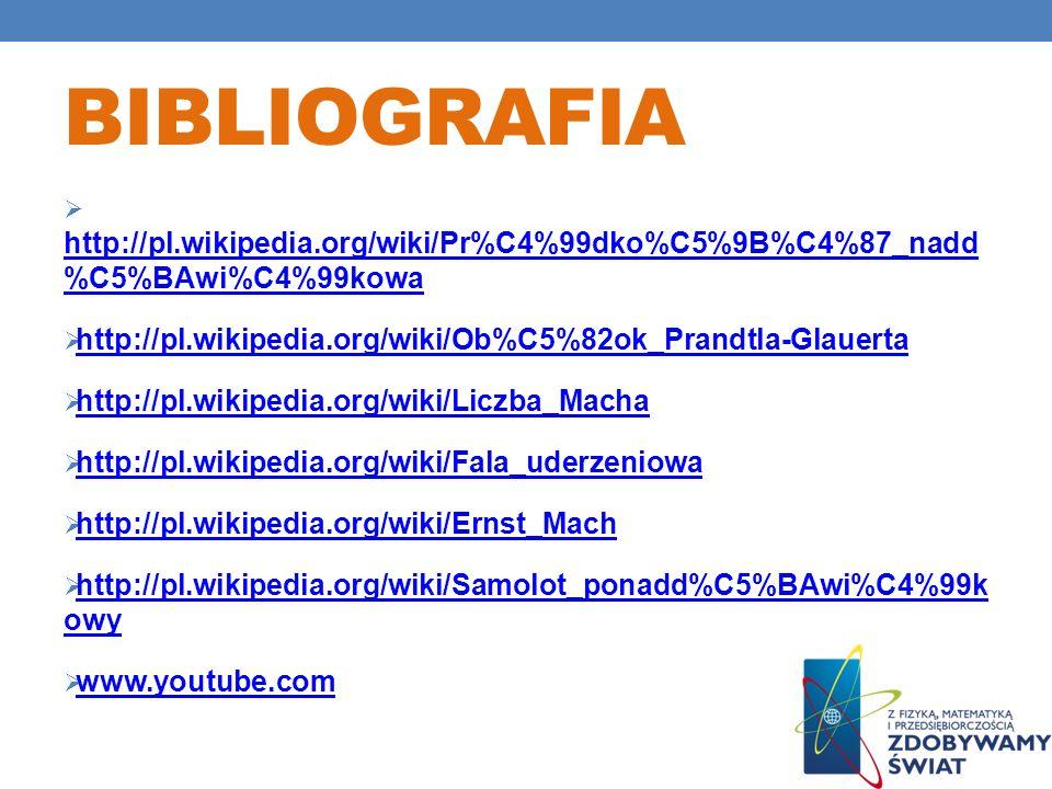 Bibliografia http://pl.wikipedia.org/wiki/Pr%C4%99dko%C5%9B%C4%87_nadd %C5%BAwi%C4%99kowa. http://pl.wikipedia.org/wiki/Ob%C5%82ok_Prandtla-Glauerta.