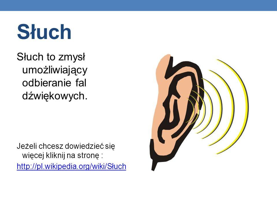 Słuch Słuch to zmysł umożliwiający odbieranie fal dźwiękowych.