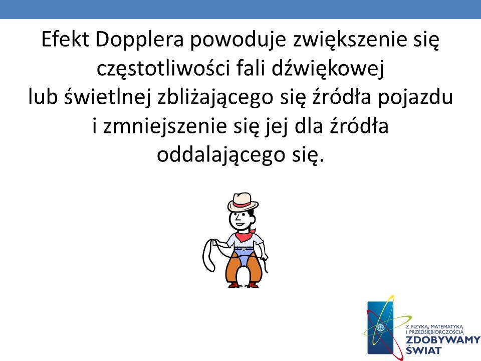 Efekt Dopplera powoduje zwiększenie się częstotliwości fali dźwiękowej lub świetlnej zbliżającego się źródła pojazdu i zmniejszenie się jej dla źródła oddalającego się.
