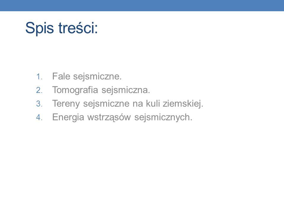 Spis treści: Fale sejsmiczne. Tomografia sejsmiczna.