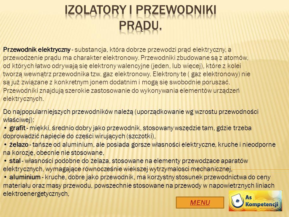 Izolatory i przewodniki prądu.