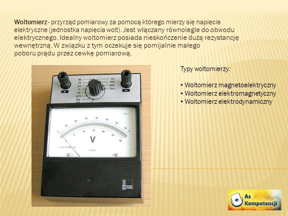 Woltomierz - przyrząd pomiarowy za pomocą którego mierzy się napięcie elektryczne (jednostka napięcia wolt). Jest włączany równolegle do obwodu elektrycznego. Idealny woltomierz posiada nieskończenie dużą rezystancję wewnętrzną. W związku z tym oczekuje się pomijalnie małego poboru prądu przez cewkę pomiarową.