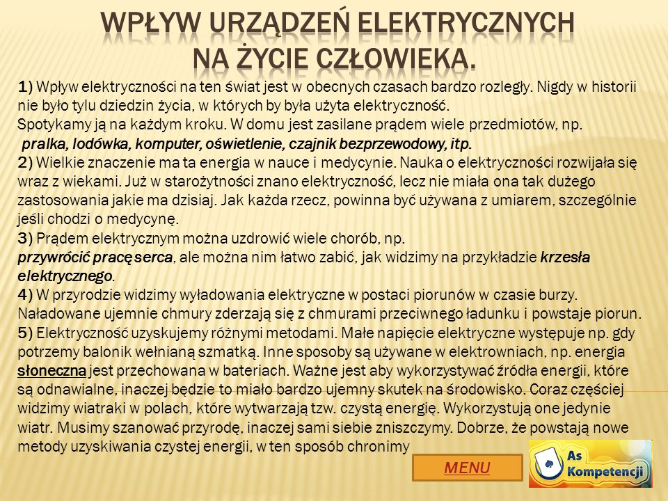 Wpływ urządzeń elektrycznych na ŻYCIE CZŁOWIEKA.