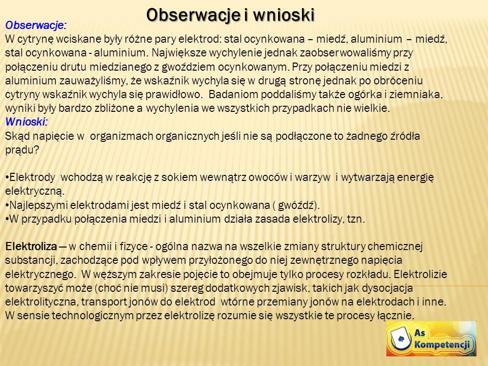 Obserwacje i wnioski Obserwacje: