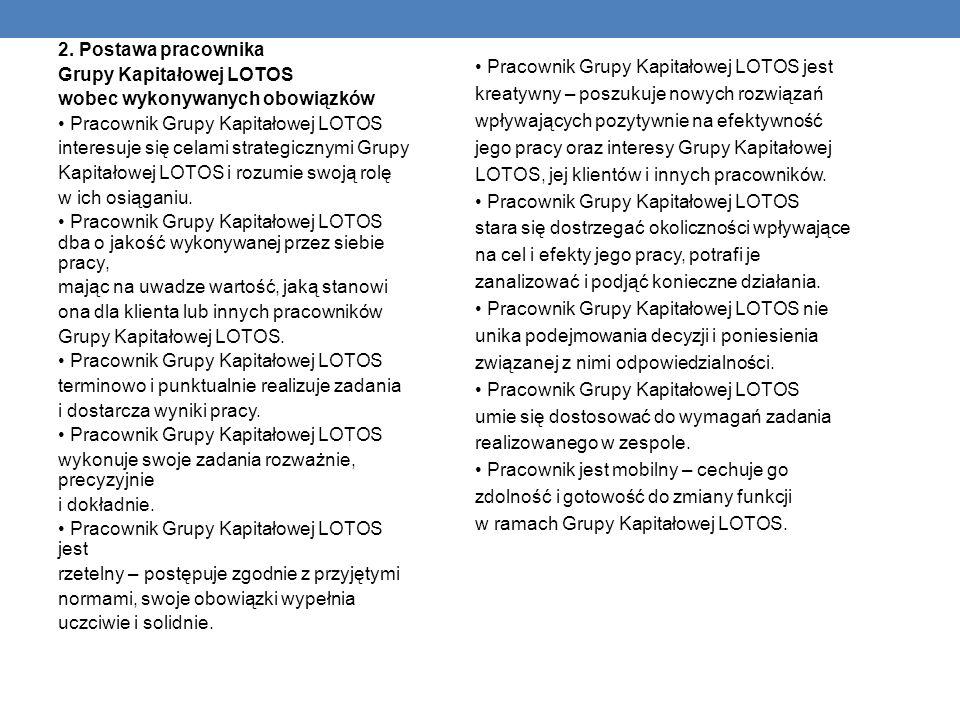 2. Postawa pracownika Grupy Kapitałowej LOTOS. wobec wykonywanych obowiązków. • Pracownik Grupy Kapitałowej LOTOS.