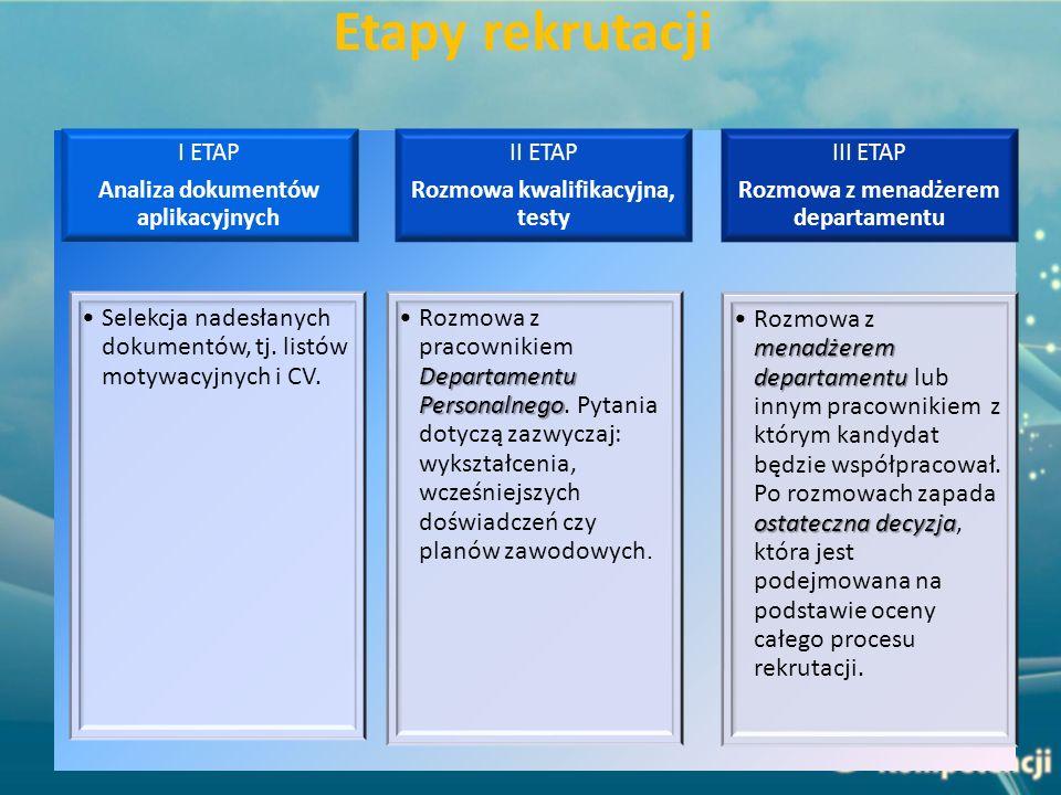 Etapy rekrutacji Analiza dokumentów aplikacyjnych. I ETAP. Selekcja nadesłanych dokumentów, tj. listów motywacyjnych i CV.