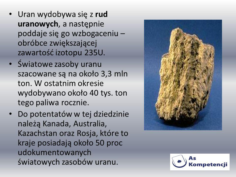 Uran wydobywa się z rud uranowych, a następnie poddaje się go wzbogaceniu – obróbce zwiększającej zawartość izotopu 235U.