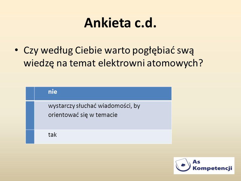 Ankieta c.d. Czy według Ciebie warto pogłębiać swą wiedzę na temat elektrowni atomowych nie.