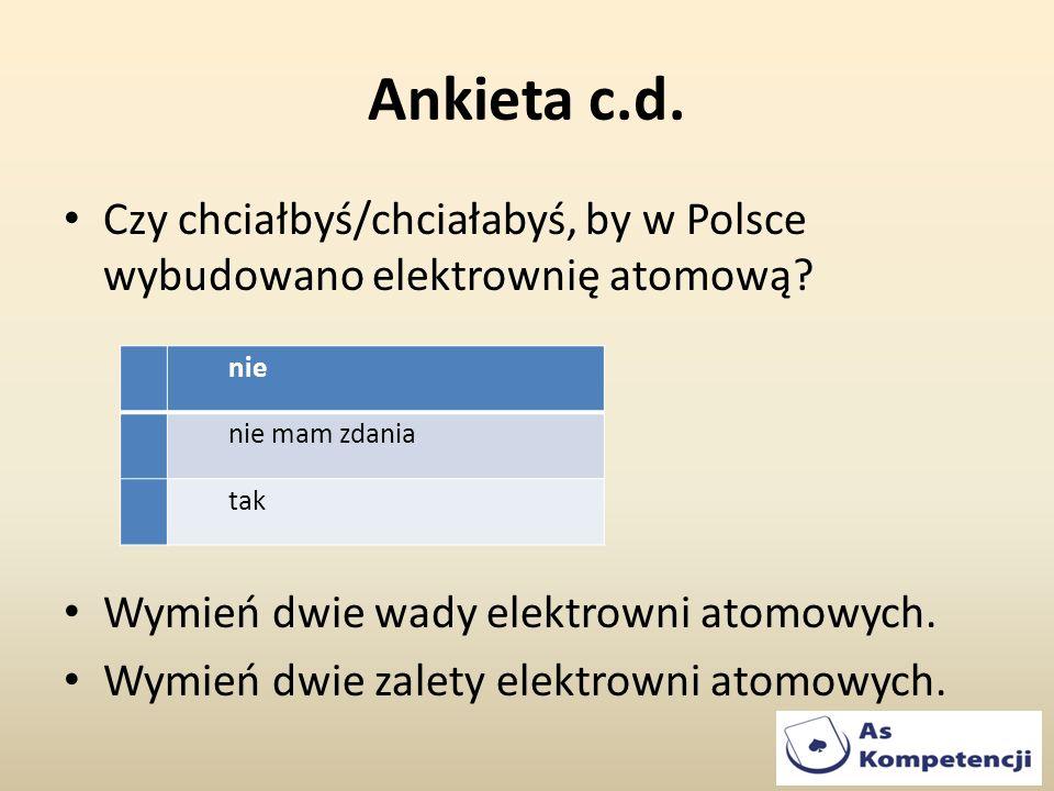 Ankieta c.d. Czy chciałbyś/chciałabyś, by w Polsce wybudowano elektrownię atomową Wymień dwie wady elektrowni atomowych.