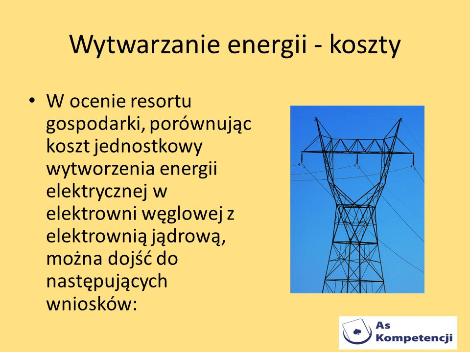Wytwarzanie energii - koszty