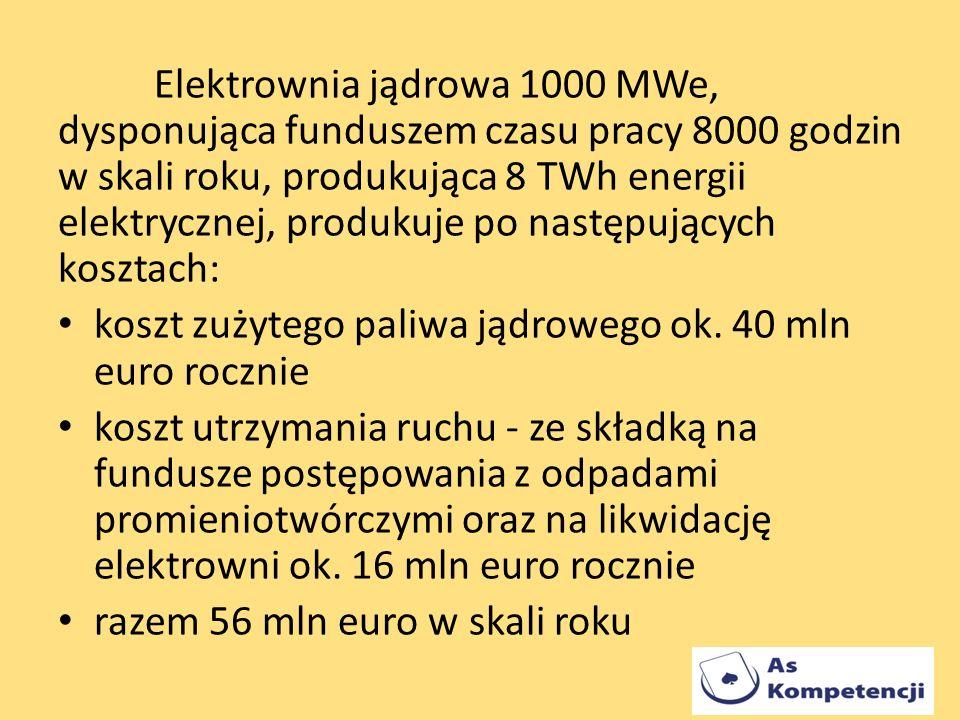 Elektrownia jądrowa 1000 MWe, dysponująca funduszem czasu pracy 8000 godzin w skali roku, produkująca 8 TWh energii elektrycznej, produkuje po następujących kosztach: