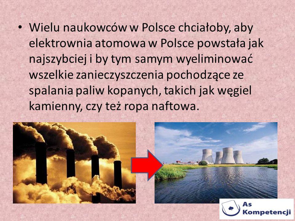 Wielu naukowców w Polsce chciałoby, aby elektrownia atomowa w Polsce powstała jak najszybciej i by tym samym wyeliminować wszelkie zanieczyszczenia pochodzące ze spalania paliw kopanych, takich jak węgiel kamienny, czy też ropa naftowa.