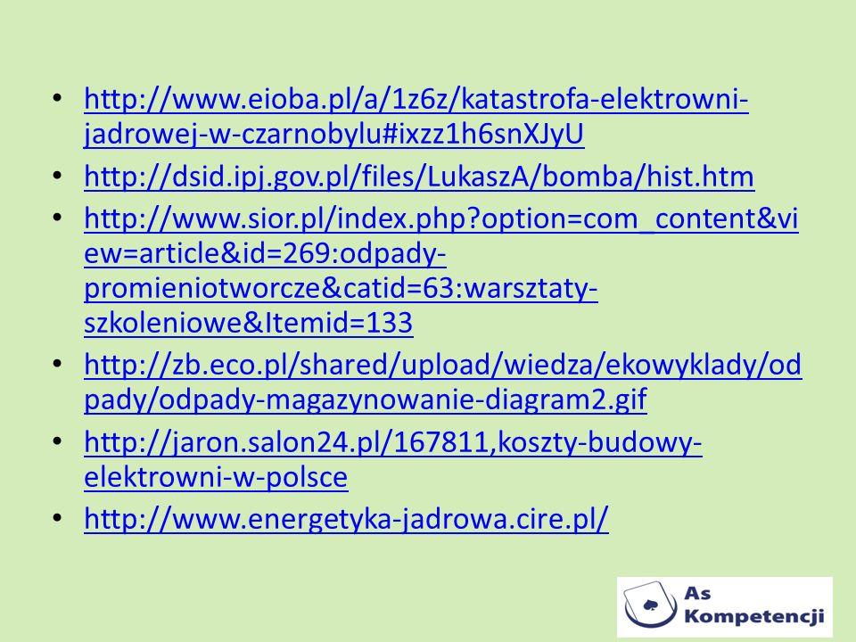 http://www.eioba.pl/a/1z6z/katastrofa-elektrowni-jadrowej-w-czarnobylu#ixzz1h6snXJyU http://dsid.ipj.gov.pl/files/LukaszA/bomba/hist.htm.