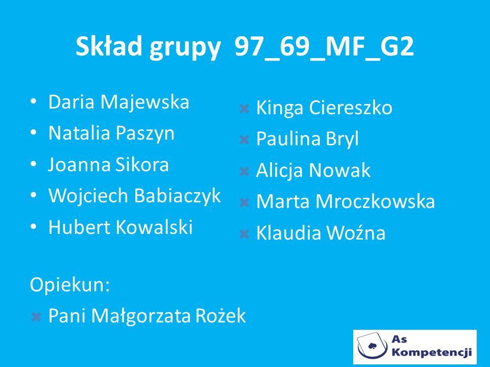 Skład grupy 97_69_MF_G2 Daria Majewska Kinga Ciereszko Natalia Paszyn