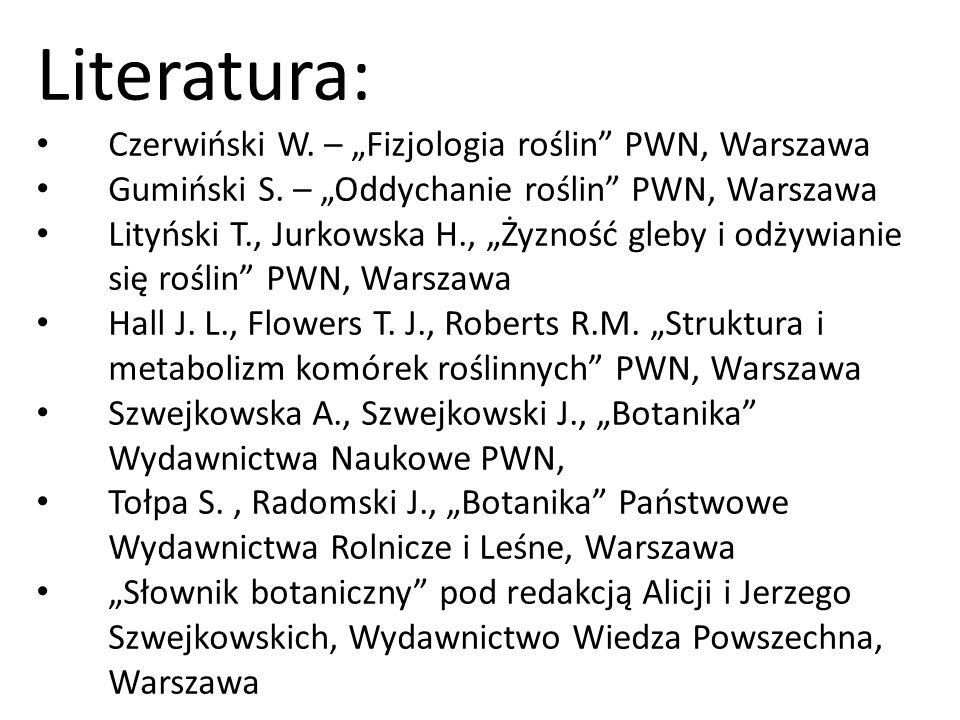 """Literatura: Czerwiński W. – """"Fizjologia roślin PWN, Warszawa"""