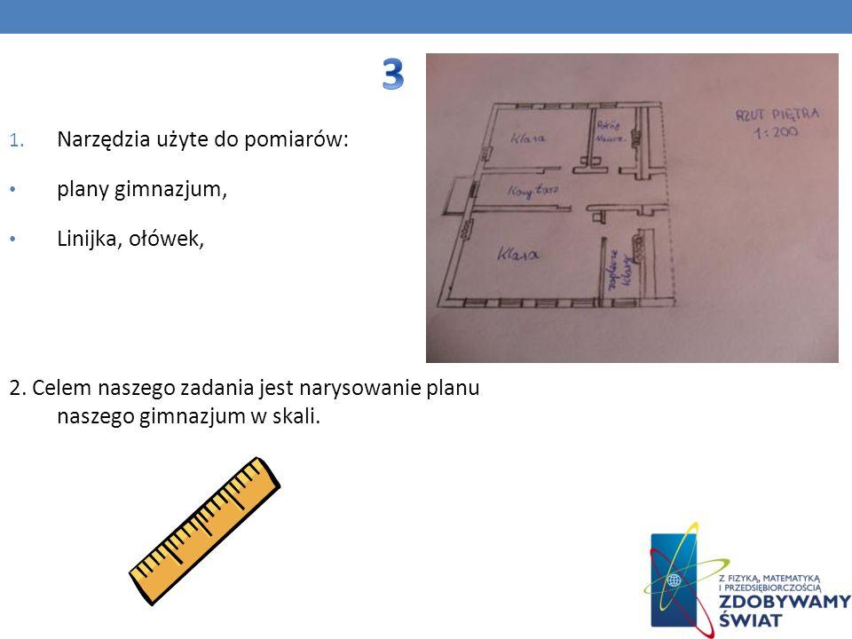 3 Narzędzia użyte do pomiarów: plany gimnazjum, Linijka, ołówek,