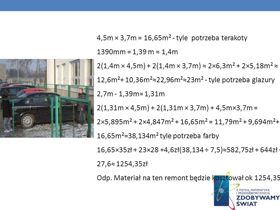4,5m × 3,7m = 16,65m² - tyle potrzeba terakoty 1390mm = 1,39 m ≈ 1,4m 2(1,4m × 4,5m) + 2(1,4m × 3,7m) ≈ 2×6,3m² + 2×5,18m² ≈ 12,6m²+ 10,36m²≈22,96m²≈23m² - tyle potrzeba glazury 2,7m - 1,39m= 1,31m 2(1,31m × 4,5m) + 2(1,31m × 3,7m) + 4,5m×3,7m = 2×5,895m² + 2×4,847m² + 16,65m² = 11,79m² + 9,694m²+ 16,65m²=38,134m² tyle potrzeba farby 16,65×35zł + 23×28 +4,6zł(38,134 ÷ 7,5)≈582,75zł + 644zł + 27,6≈ 1254,35zł Odp.