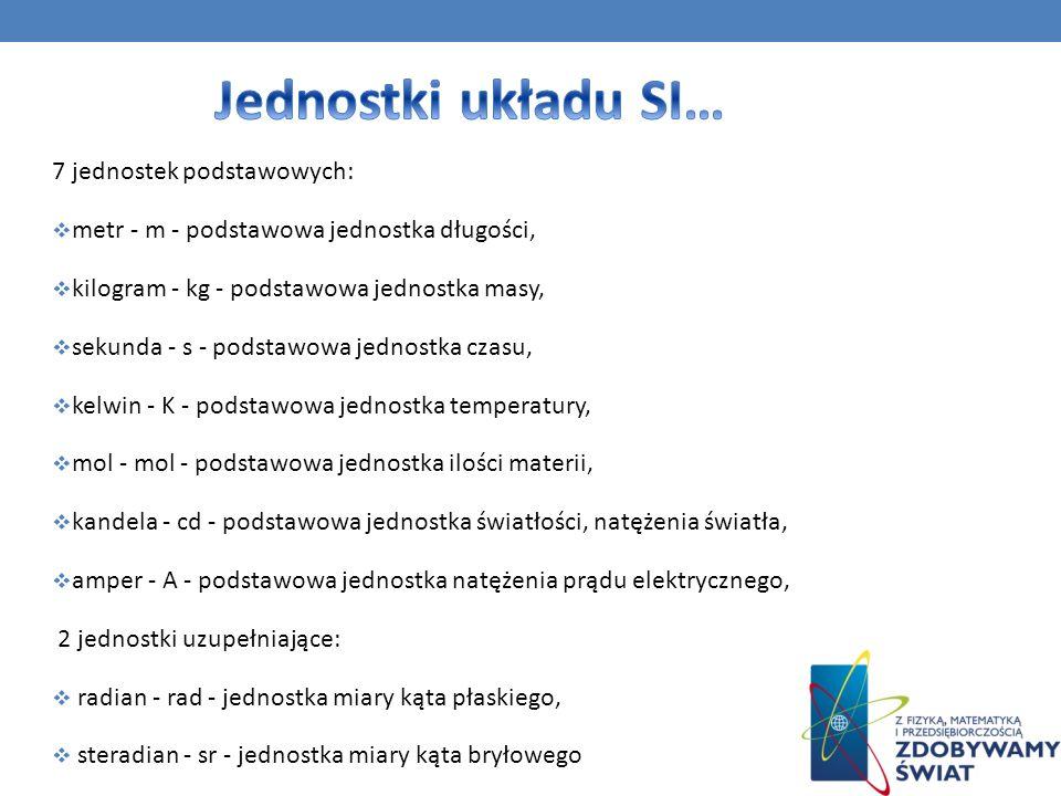Jednostki układu SI… 7 jednostek podstawowych: