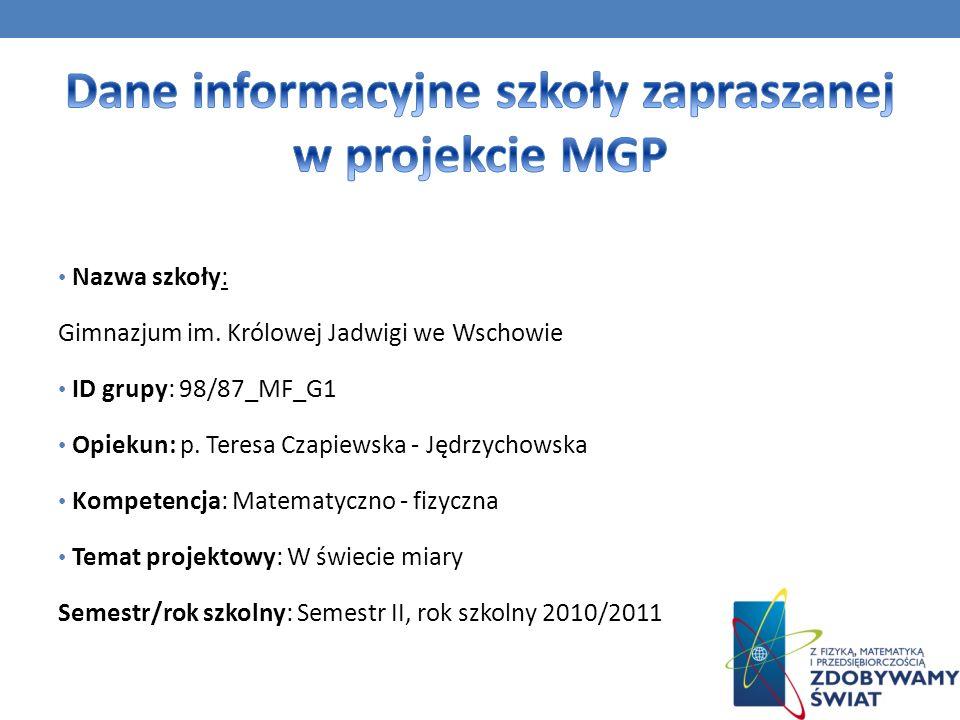 Dane informacyjne szkoły zapraszanej w projekcie MGP