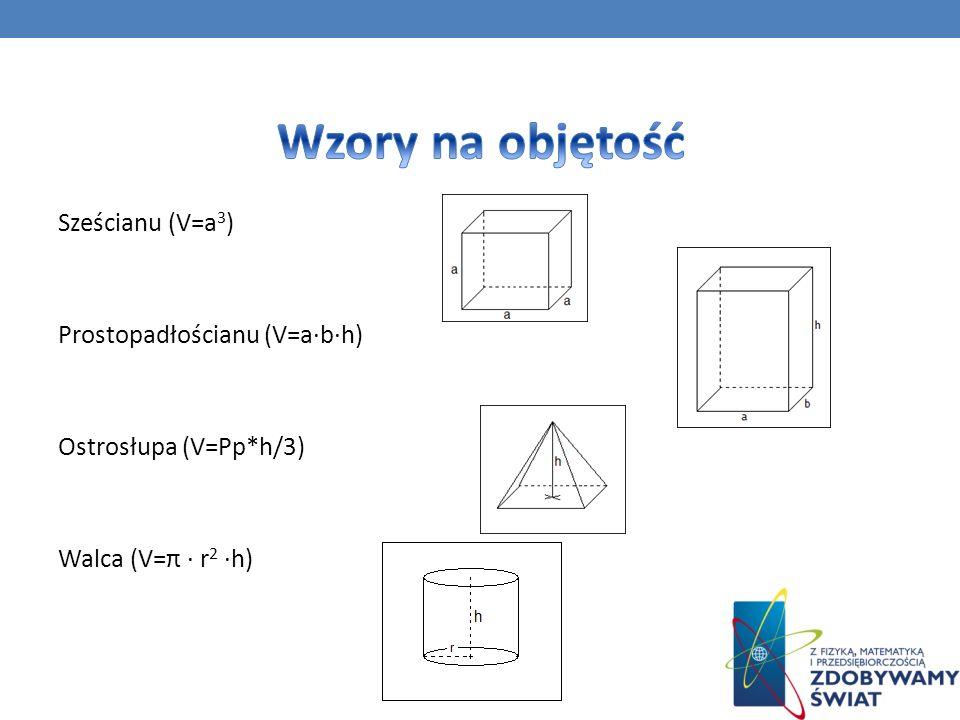 Wzory na objętość Sześcianu (V=a3) Prostopadłościanu (V=a·b·h) Ostrosłupa (V=Pp*h/3) Walca (V=π · r2 ·h)