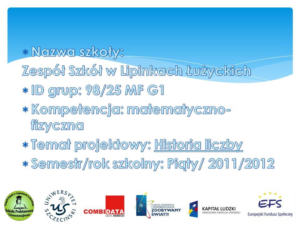 Nazwa szkoły: Zespół Szkół w Lipinkach Łużyckich. ID grup: 98/25 MF G1. Kompetencja: matematyczno-fizyczna.