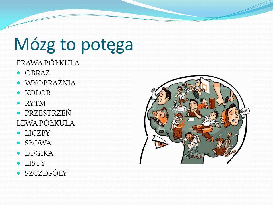 Mózg to potęga PRAWA PÓŁKULA OBRAZ WYOBRAŻNIA KOLOR RYTM PRZESTRZEŃ