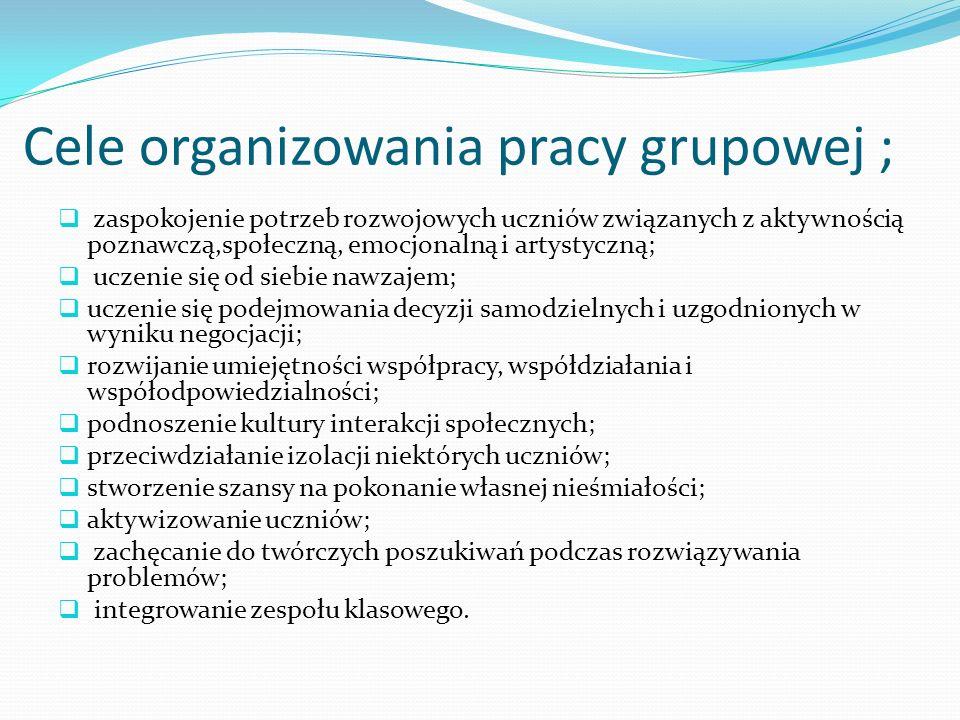 Cele organizowania pracy grupowej ;