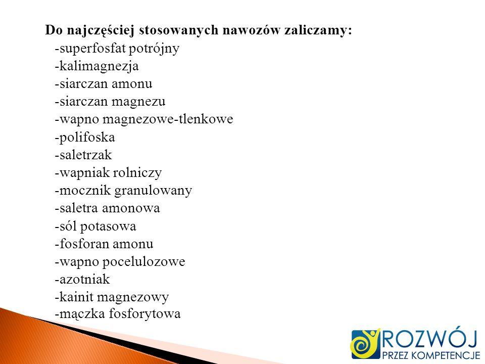Do najczęściej stosowanych nawozów zaliczamy: -superfosfat potrójny -kalimagnezja -siarczan amonu -siarczan magnezu -wapno magnezowe-tlenkowe -polifoska -saletrzak -wapniak rolniczy -mocznik granulowany -saletra amonowa -sól potasowa -fosforan amonu -wapno pocelulozowe -azotniak -kainit magnezowy -mączka fosforytowa